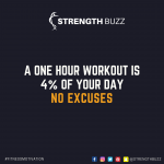 Motivational Fitness Quotes - A one hour workout is 4% of your day. No excuses