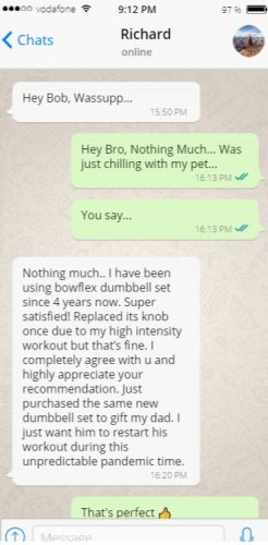 Conversation with Richard - Customer Review for Bowflex 552