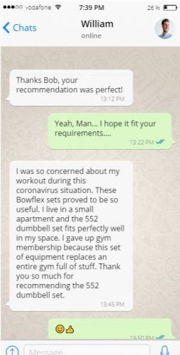 Conversation with William- Customer Review for Bowflex 552